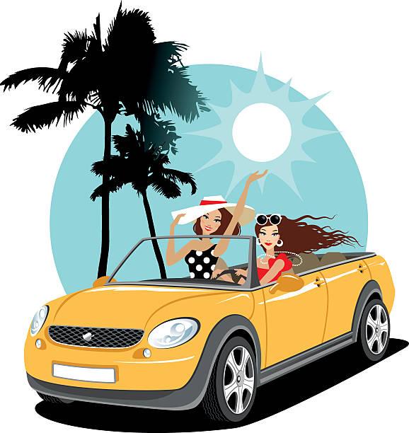 ilustrações, clipart, desenhos animados e ícones de duas garotas em um carro durante viagem de férias - carro mulher