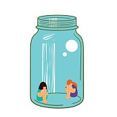 Two girls in a glass jar