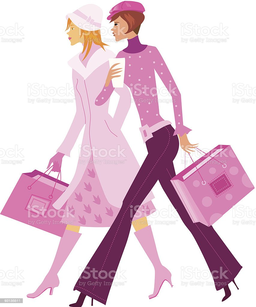 two girls in pink shopping together stock vector art 93135511 istock rh istockphoto com Group of Women Shopping Clip Art Woman Shopping Clip Art Black and White
