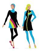 Two girls in swimsuits Islamic burkini.