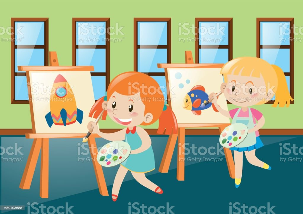 Two girls painting on canvas in classroom vector art illustration