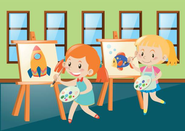 two girls painting on canvas in classroom - art class stock illustrations, clip art, cartoons, & icons