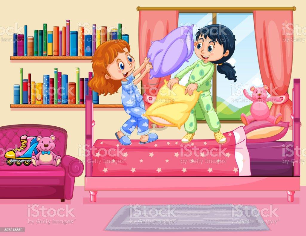 754888fc95 Almohada dos chicas peleando en el dormitorio ilustración de almohada dos  chicas peleando en el dormitorio