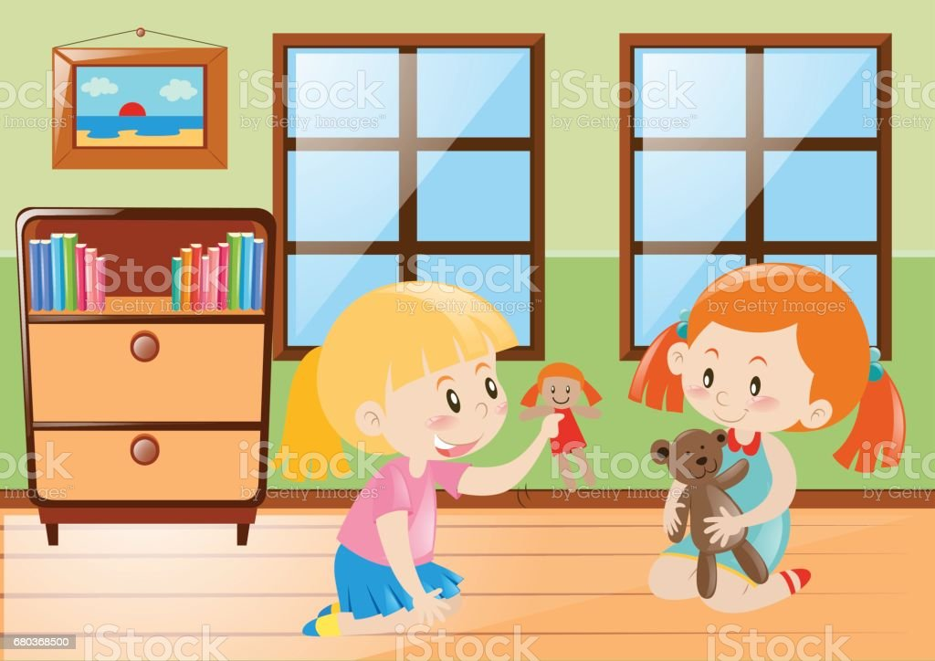 Two girls playing dolls in the room royalty-free two girls playing dolls in the room stock vector art & more images of activity