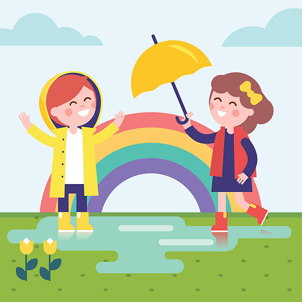 two girls playing in the rain and rainbow - kids playing in rain stock illustrations, clip art, cartoons, & icons
