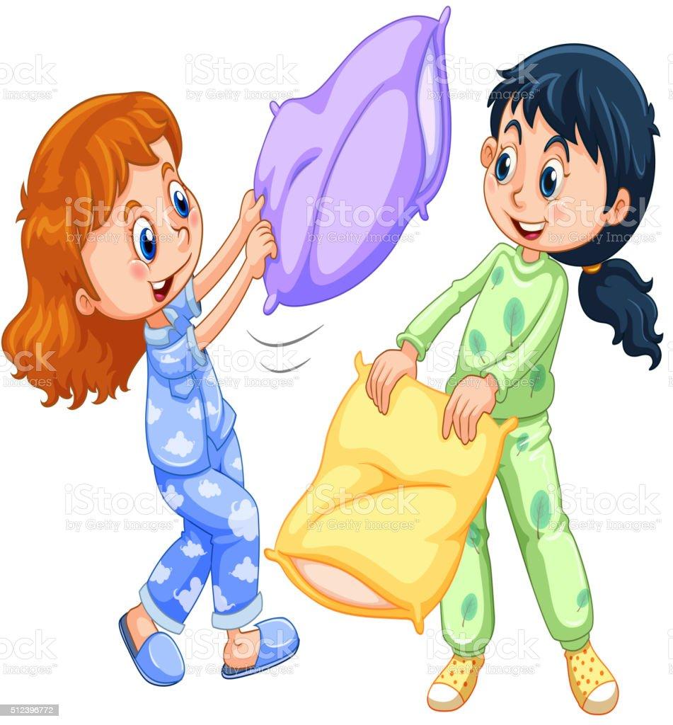 11014ebb08 Dos niñas jugando lucha con almohada en fiesta de pijamas ilustración de dos  niñas jugando lucha