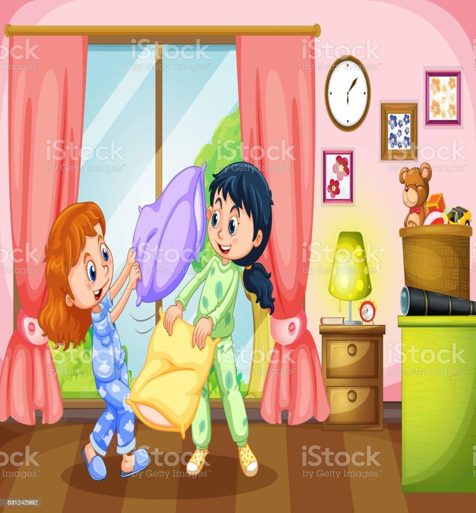 dc6cf29940 Dos niñas jugando lucha con almohada ilustración de dos niñas jugando lucha  con almohada y más