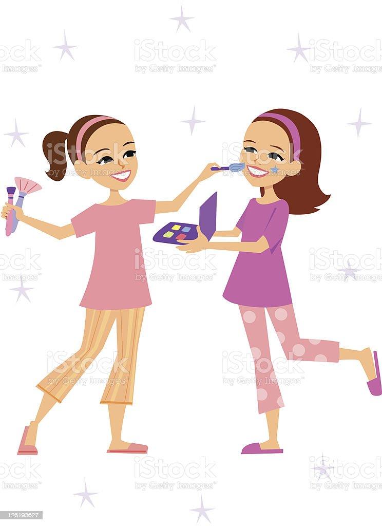 Zwei Mädchen Spielen Mit Gesicht Farbe Pyjamaparty Stock Vektor Art ...