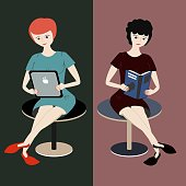 Two girls read. One woman with straight red hair reads from tablet, other girl with curly dark hair reads a book. Comparison of e-reader and paper book. Isolated characters and complementary colors