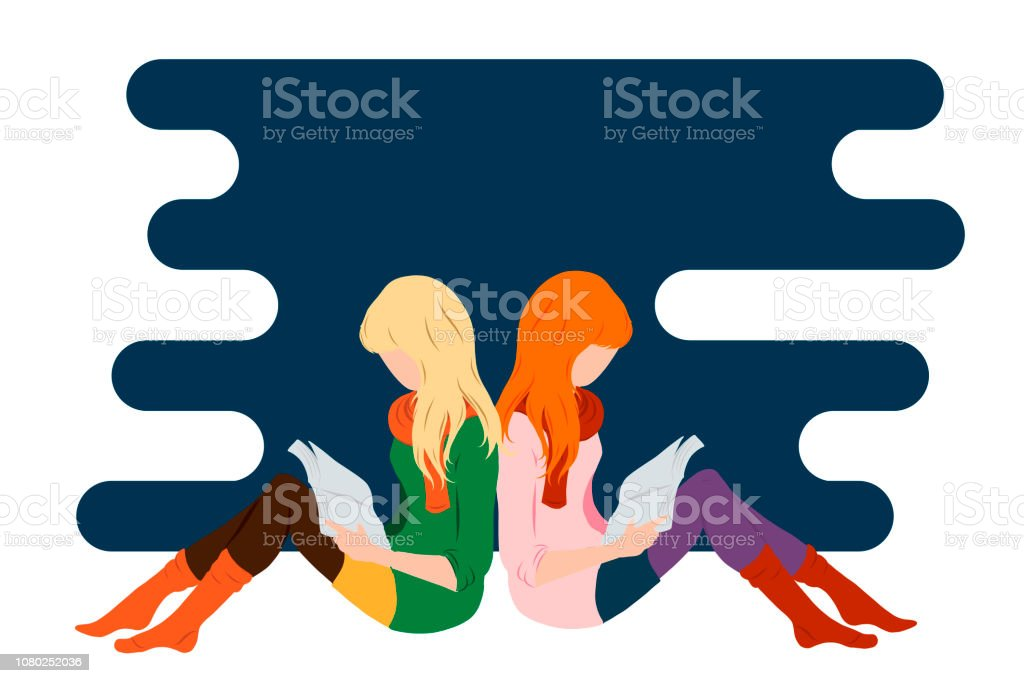 Two Girls Reading Books Flat Style Illustration For