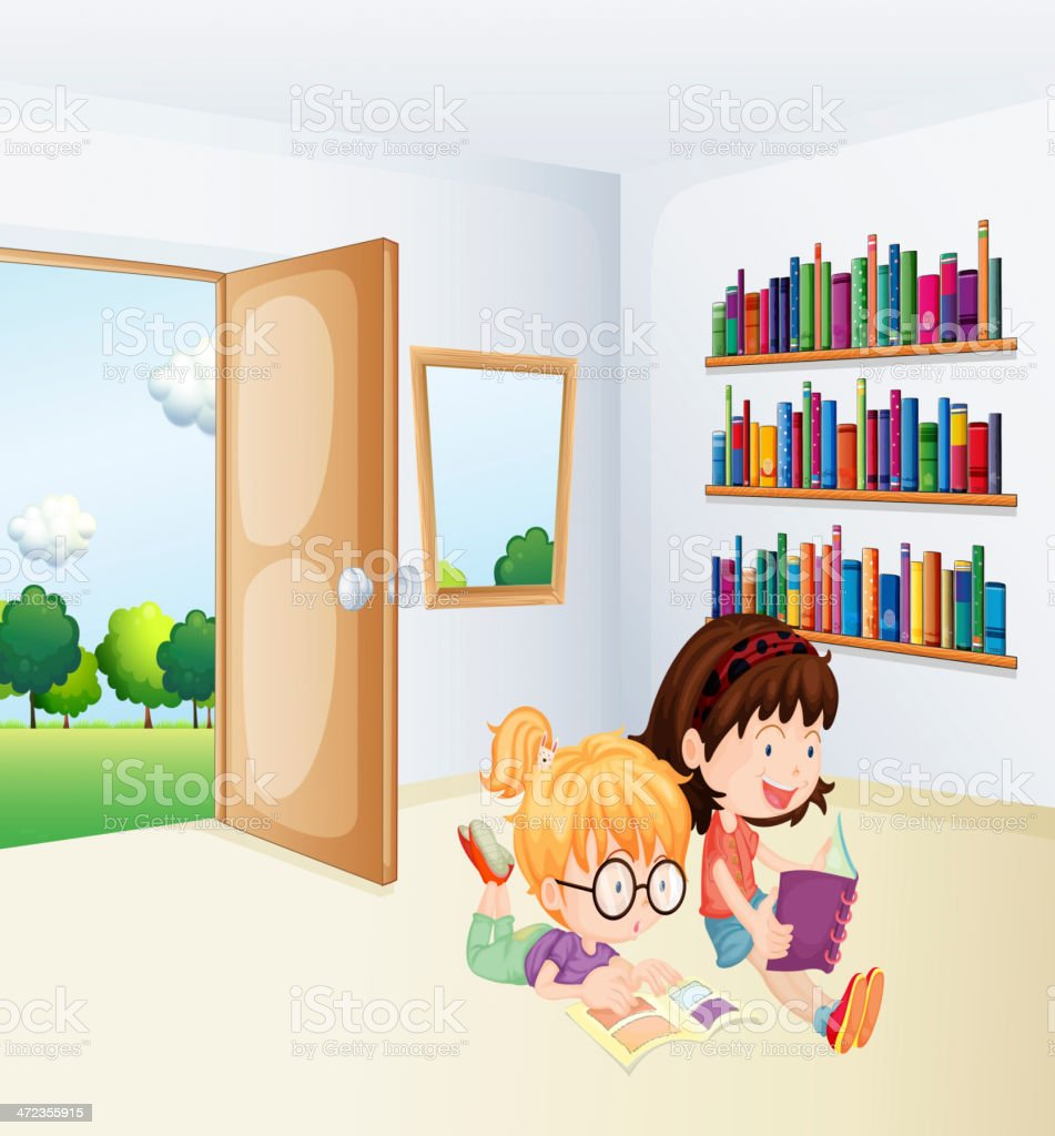 Two girls reading inside a room royalty-free stock vector art
