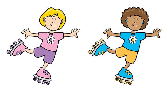 Two Girls Rollerblading Cartoon