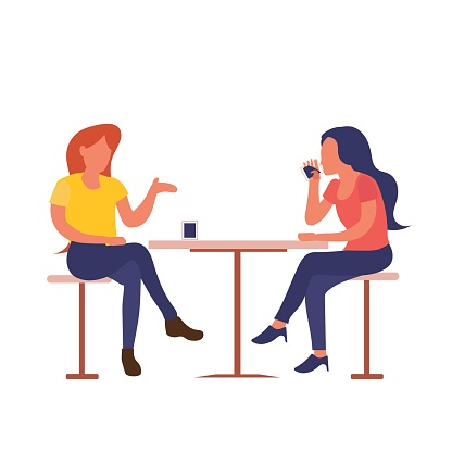 two girls sitting at cafe drink coffee while talking flat design isolated on white background