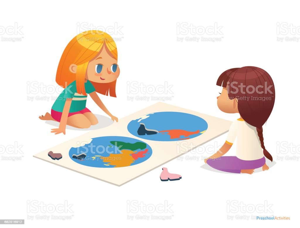 Two girls sitting on floor and trying to assemble world map puzzle. Educational activities for children. Learning through play concept. Vector illustration for poster, website, flyer, advertisement. Lizenzfreies two girls sitting on floor and trying to assemble world map puzzle educational activities for children learning through play concept vector illustration for poster website flyer advertisement stock vektor art und mehr bilder von bildung