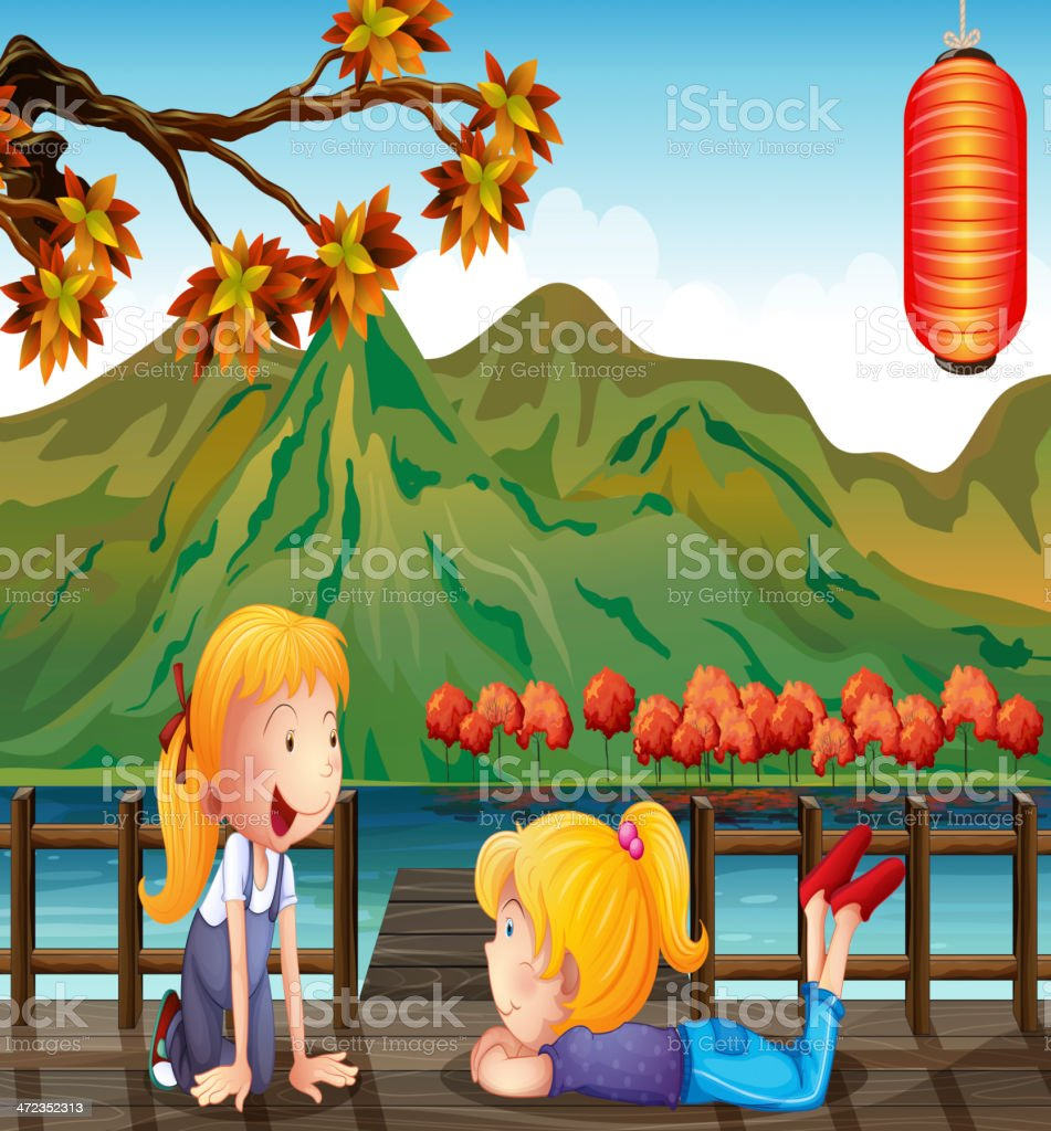 Two girls talking at the wooden bridge royalty-free stock vector art