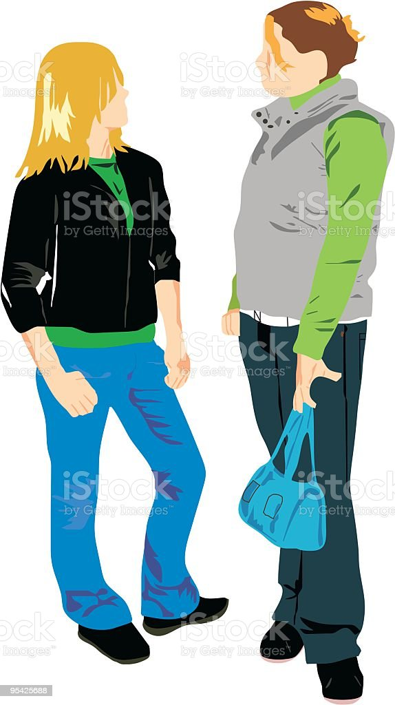 Two Girls royalty-free two girls stock vector art & more images of adolescence