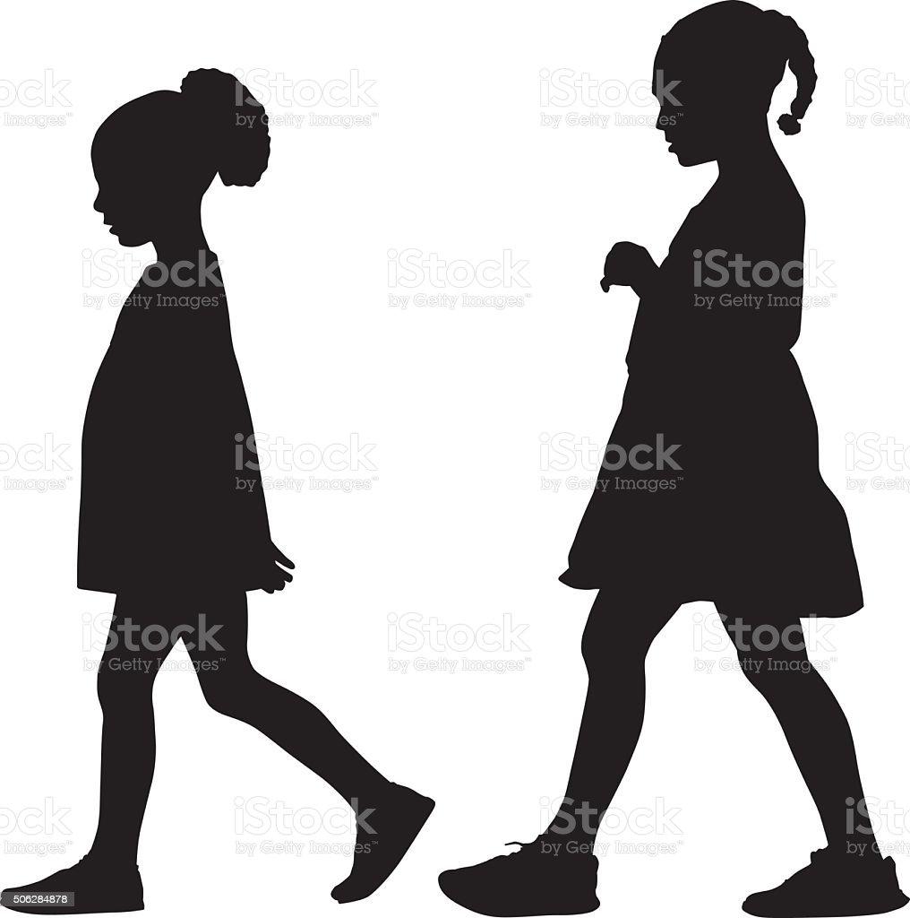 Two Girls Walking Together vector art illustration