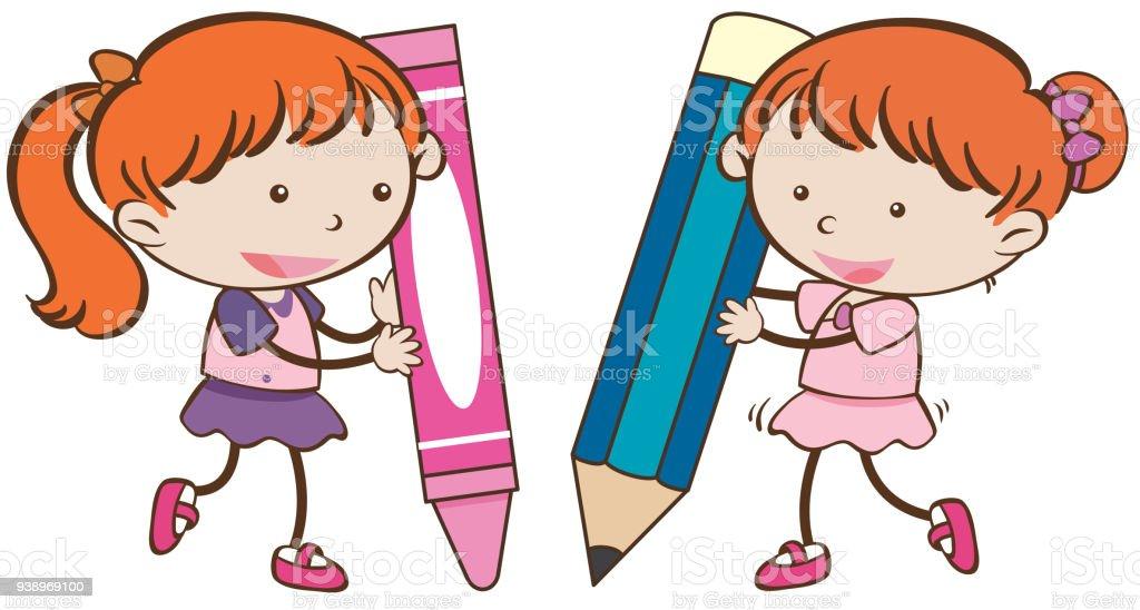 クレヨンと鉛筆で 2 人の女の子 2人のベクターアート素材や画像を多数
