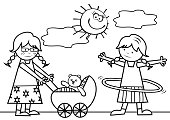 Two girls with pram and plastic hoop on the meadow, coloring,  eps.