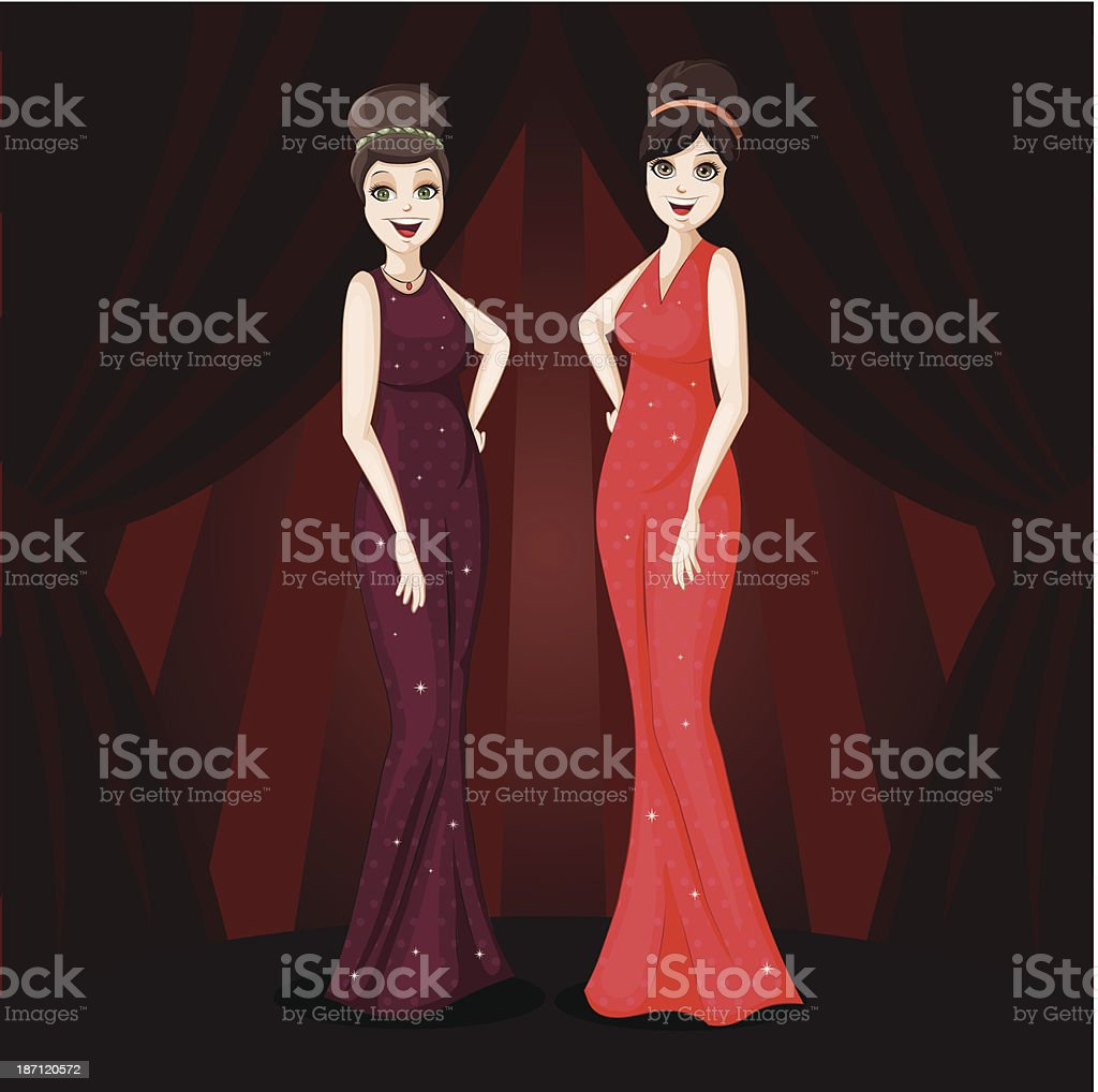 Two glamour girls royalty-free stock vector art