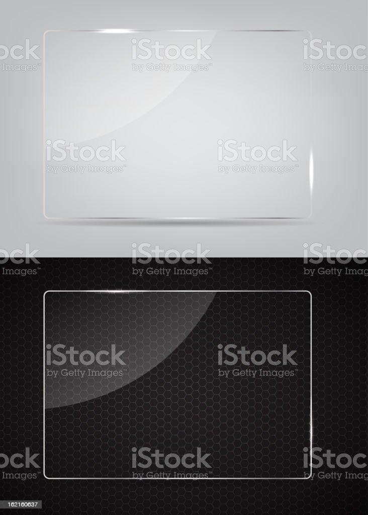 Bastidor de vidrio sobre fondo abstracto de metal. Ilustración vectorial. - ilustración de arte vectorial