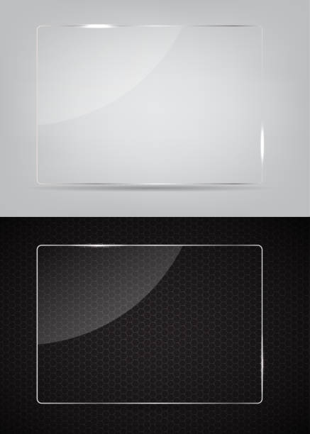 Two glass frames on an abstract black and white background vector art illustration