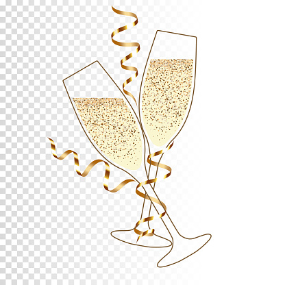 Two glass of champagne with ribbon, isolated.