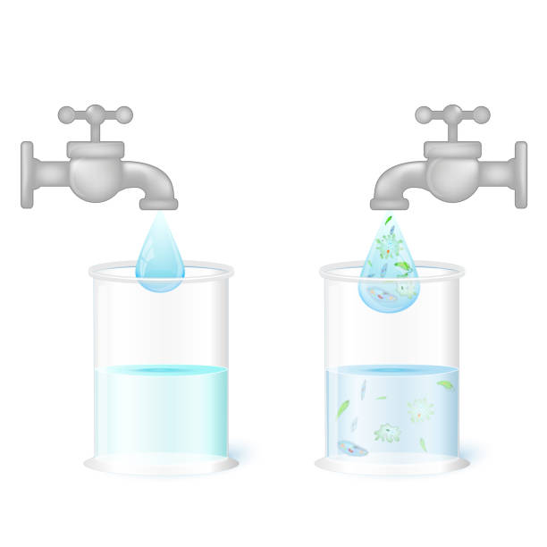 two glasses and taps with clean drinking water and dirty water w - tap water stock illustrations