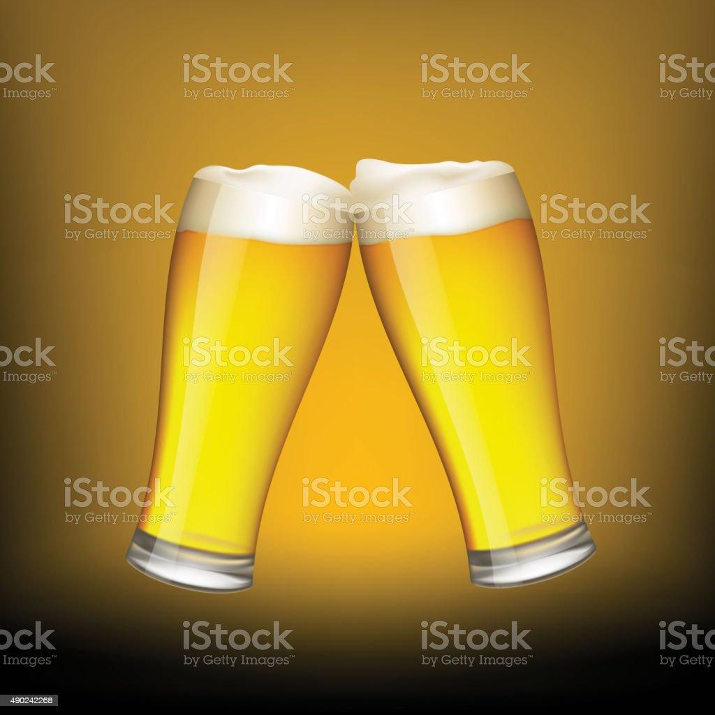 Two glasses of beer vector art illustration