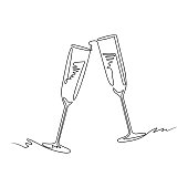istock Two glasses of champagne, continuous line. 1277185391