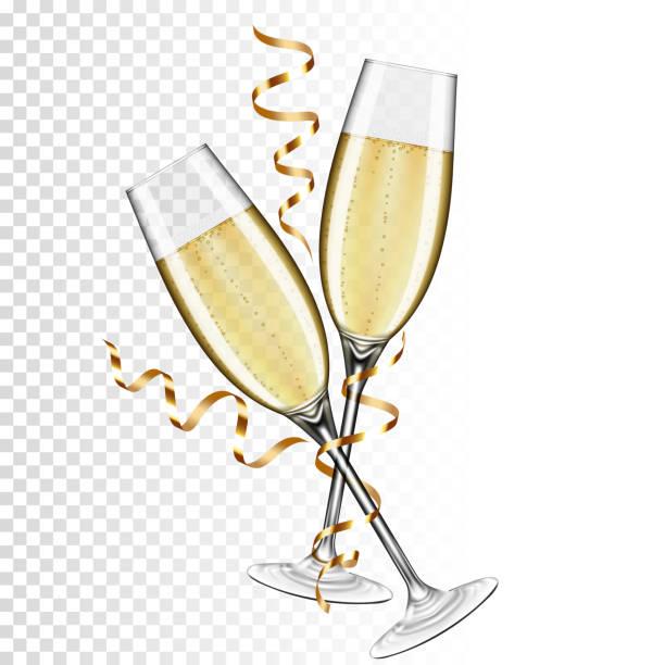 ilustrações, clipart, desenhos animados e ícones de dois vidros do champanhe, isolados no fundo transparente. - brinde