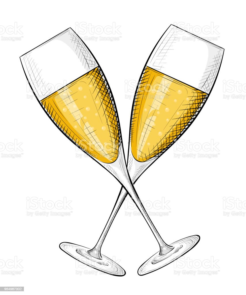 two glasses of champagne merry christmas and happy new year concept cartoon style vector illustration isolated
