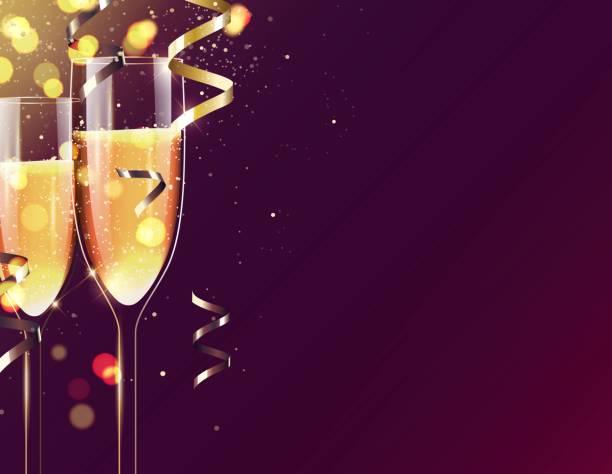 ilustrações, clipart, desenhos animados e ícones de dois copos de champanhe espumante fundo de férias. - eventos de gala