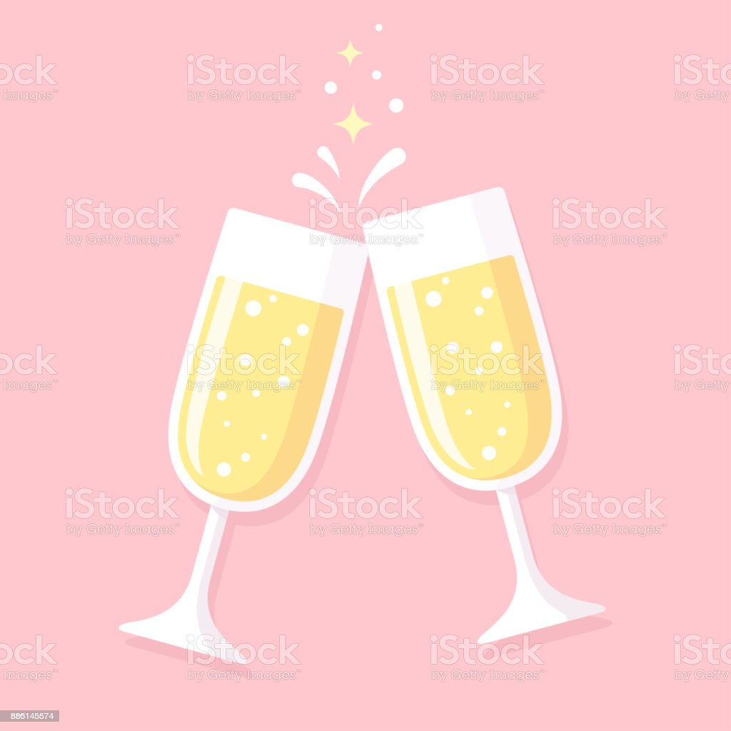 Two glasses of champagne vector art illustration