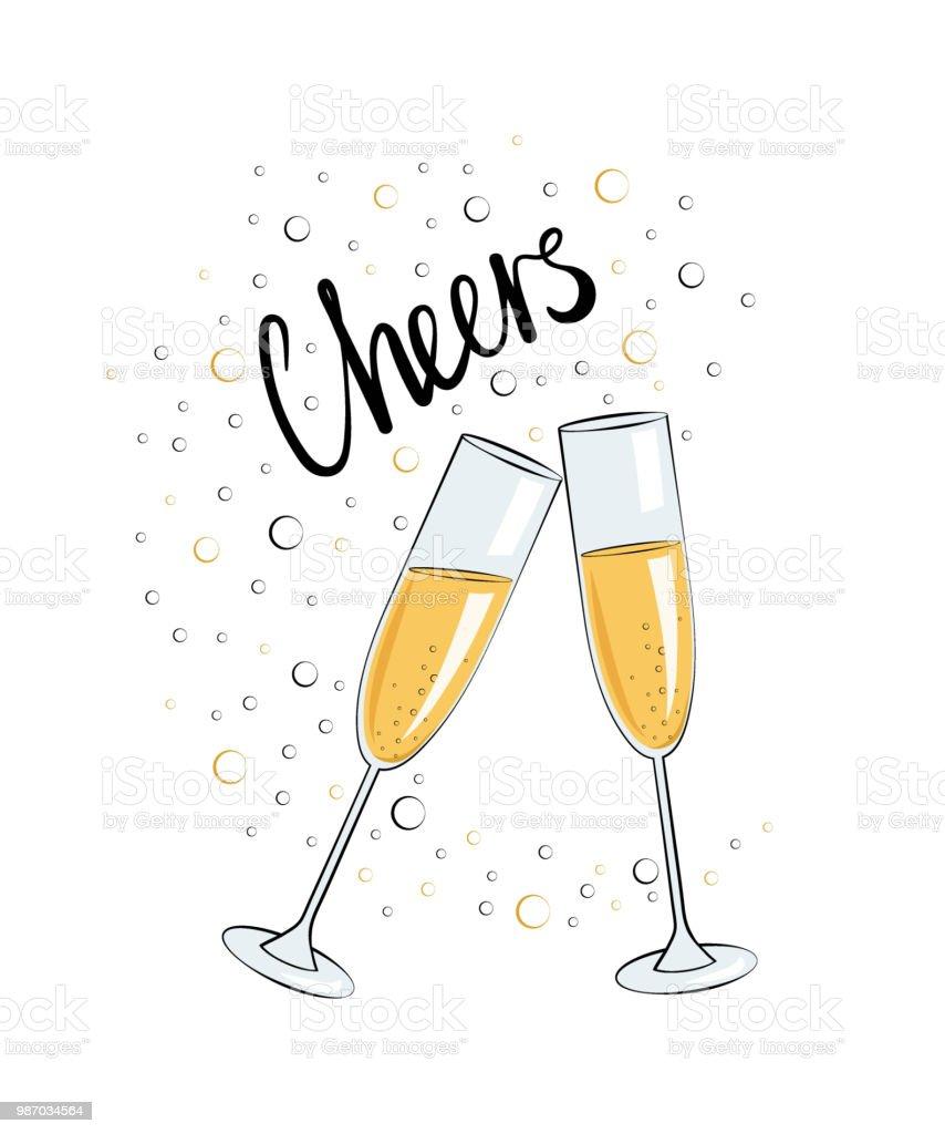 Deux Verres De Champagne Vecteurs libres de droits et plus d'images  vectorielles de Alcool - iStock