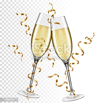 istock Two glasses of champagne with ribbon, isolated on transparent background. 1189800577