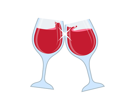 Two glasses of red wine or champagne toasting vector
