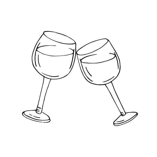 Royalty free wine glass cheers drawing clip art vector for How to draw on wine glasses