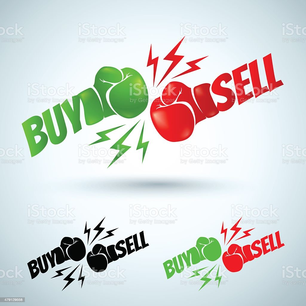 two gloves buy and sell vector art illustration