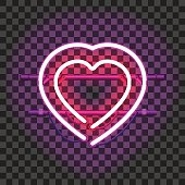 Two glowing neon hearts