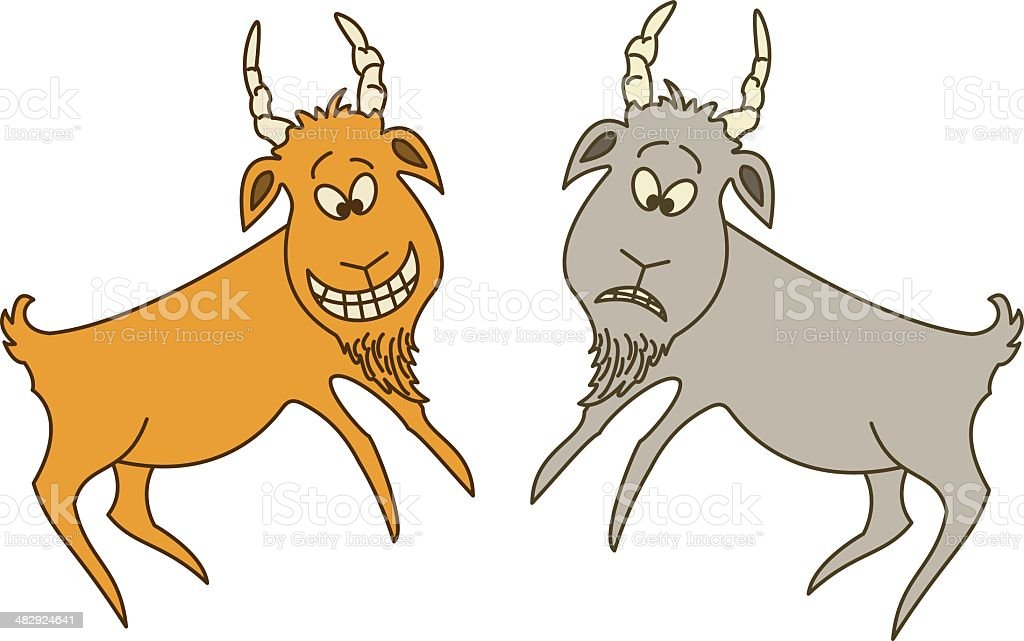 Two goats: cheerful and sad royalty-free two goats cheerful and sad stock vector art & more images of animal