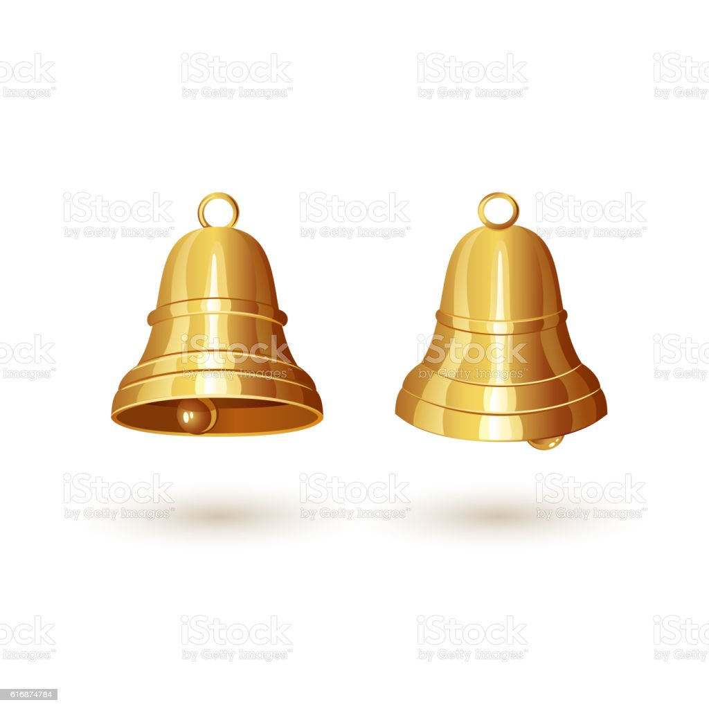 Two golden bells vector art illustration