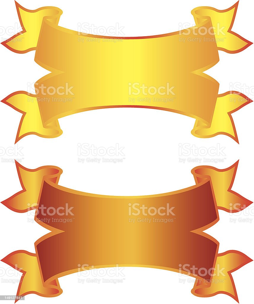 Two Golden ribbon Banners royalty-free stock vector art