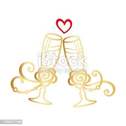 istock Two golden stemware of champagne for festive design 1255411796