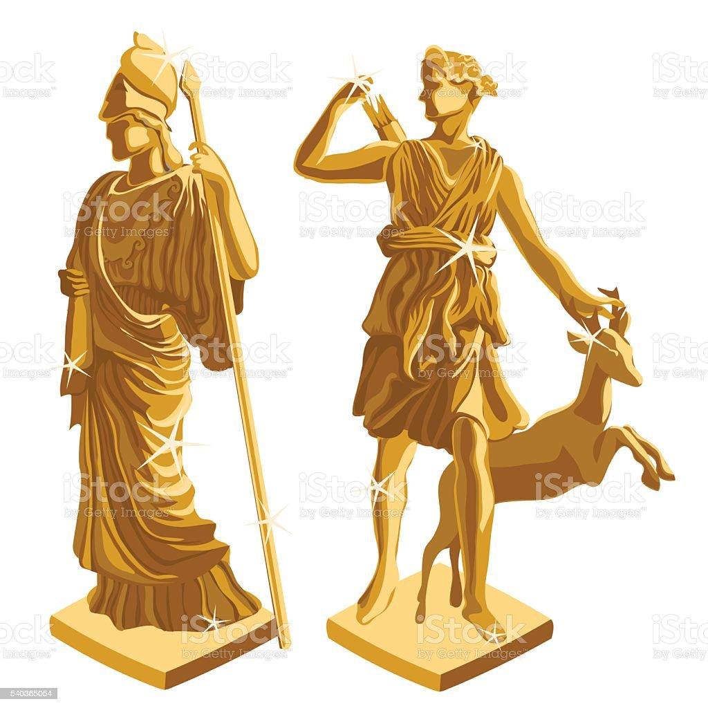Two Greek Golden statues of warrior and shepherd vector art illustration