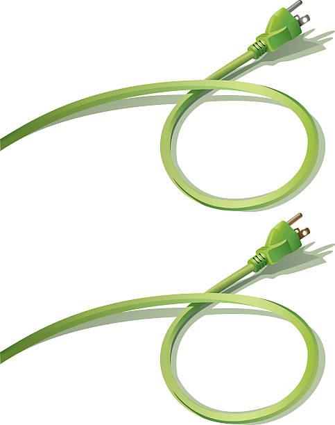 illustrations, cliparts, dessins animés et icônes de deux prises verte avec cordon de serrage bouclé concept sur blanc-image - rallonge électrique