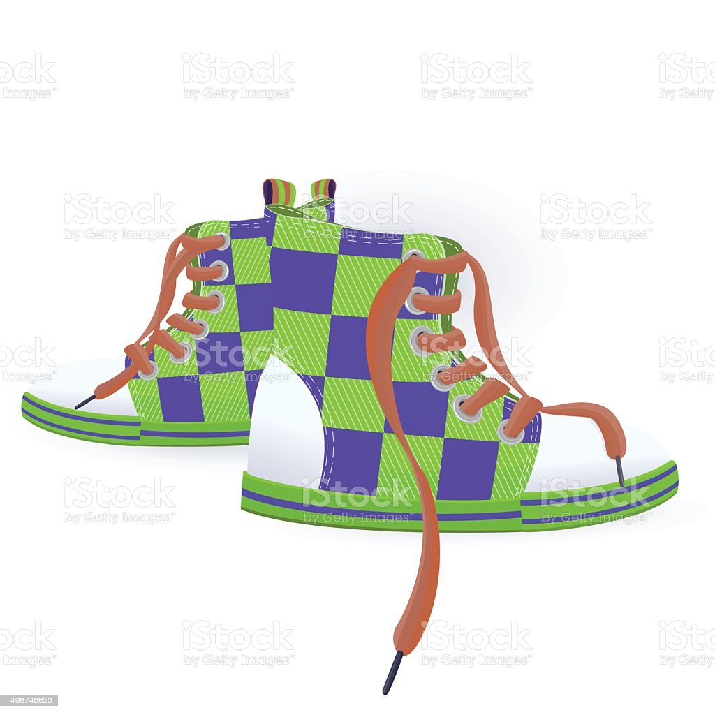 Two green sneakers vector art illustration