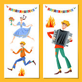 Two greeting cards. Brazilian holiday Festa Junina (the June party). Couple jumping over the fire. Boy with an accordion.