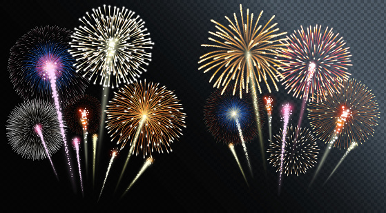 Two groups of isolated fireworks. Vector illustration.