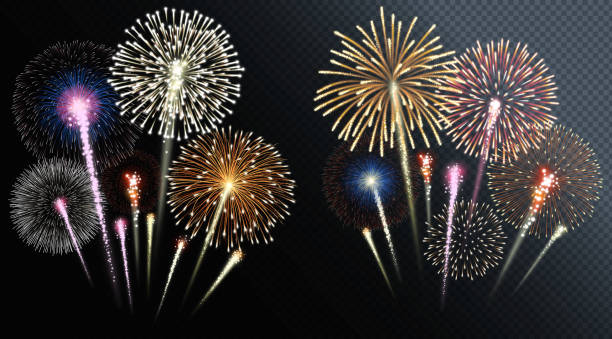Two groups of isolated fireworks. Vector illustration. Two groups of isolated fireworks. Vector illustration. fireworks stock illustrations
